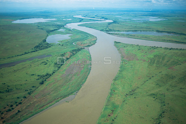 Aerial view of Karawari River, Sepik, Papua New Guinea
