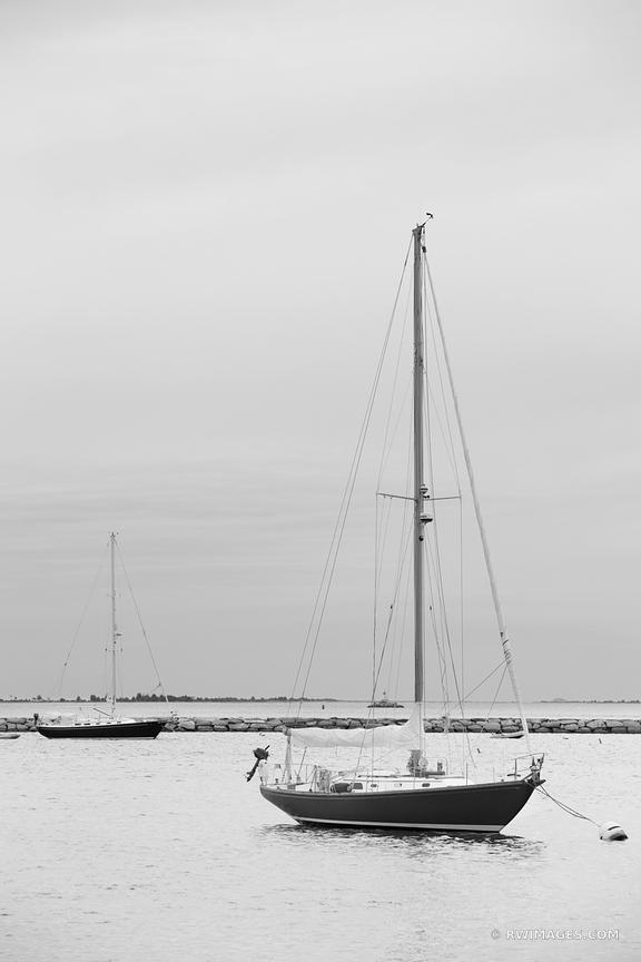 SAILBOATS SAG HARBOR LONG ISLAND NY EVENING VERTICAL BLACK AND WHITE