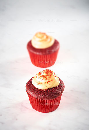 Double Cup Cake Red Velvet isolated in marble background