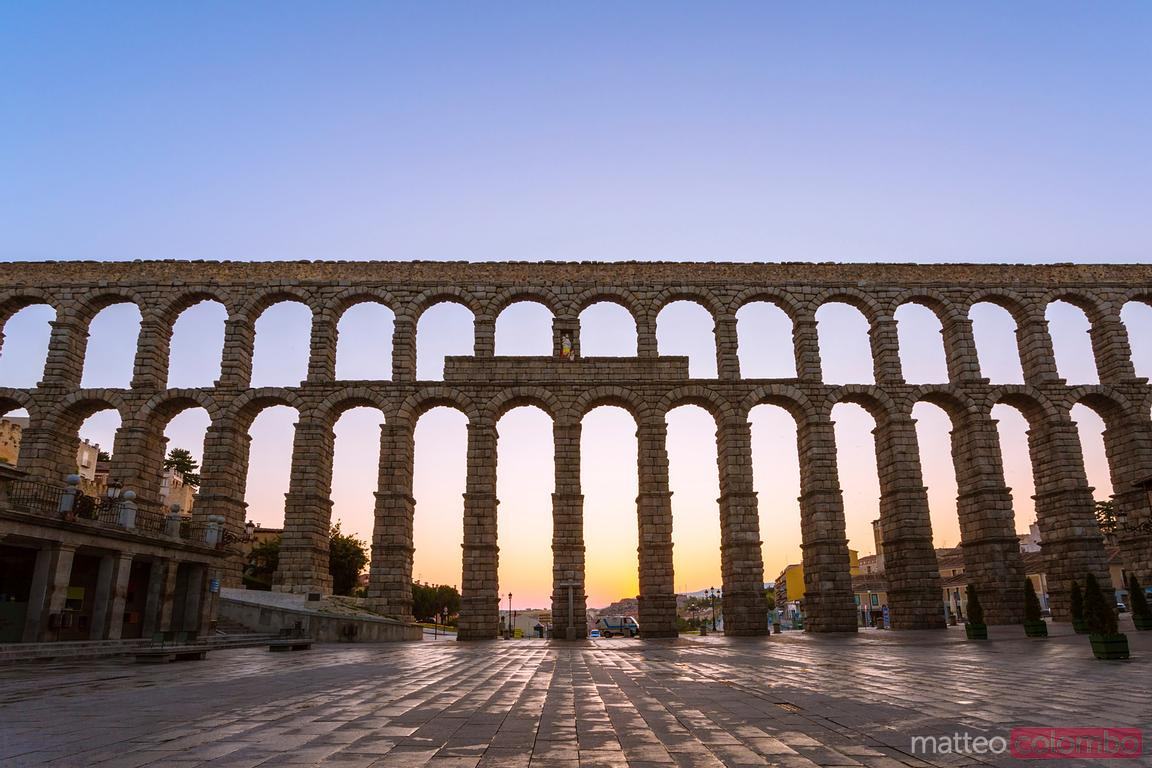 The roman aqueduct of Segovia at sunrise, Spain