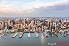 Aerial of Midtown Manhattan at sunset, New York, USA