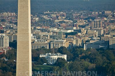 Aerial photograph of the Washington Monument and The White House.