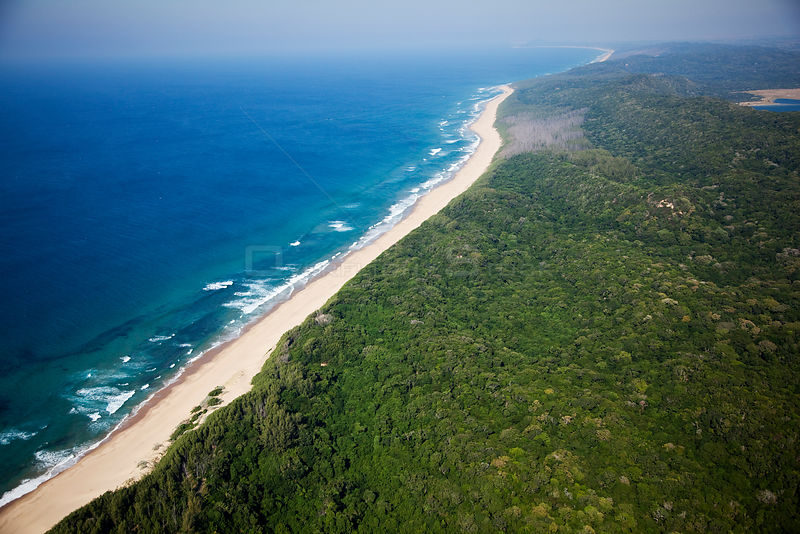 Aerial photograph of Indian ocean and forests, northern KwaZulu-Natal Province, South Africa, June 2010