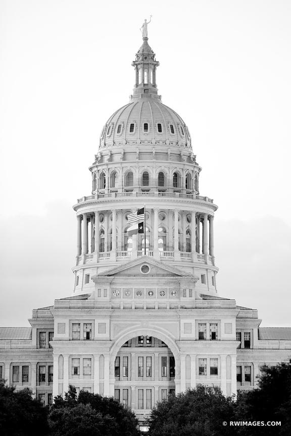 STATE CAPITOL BUILDING AUSTIN TEXAS EVENING BLACK AND WHITE VERTICAL