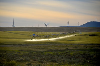 Irrigation pivot and windtowers