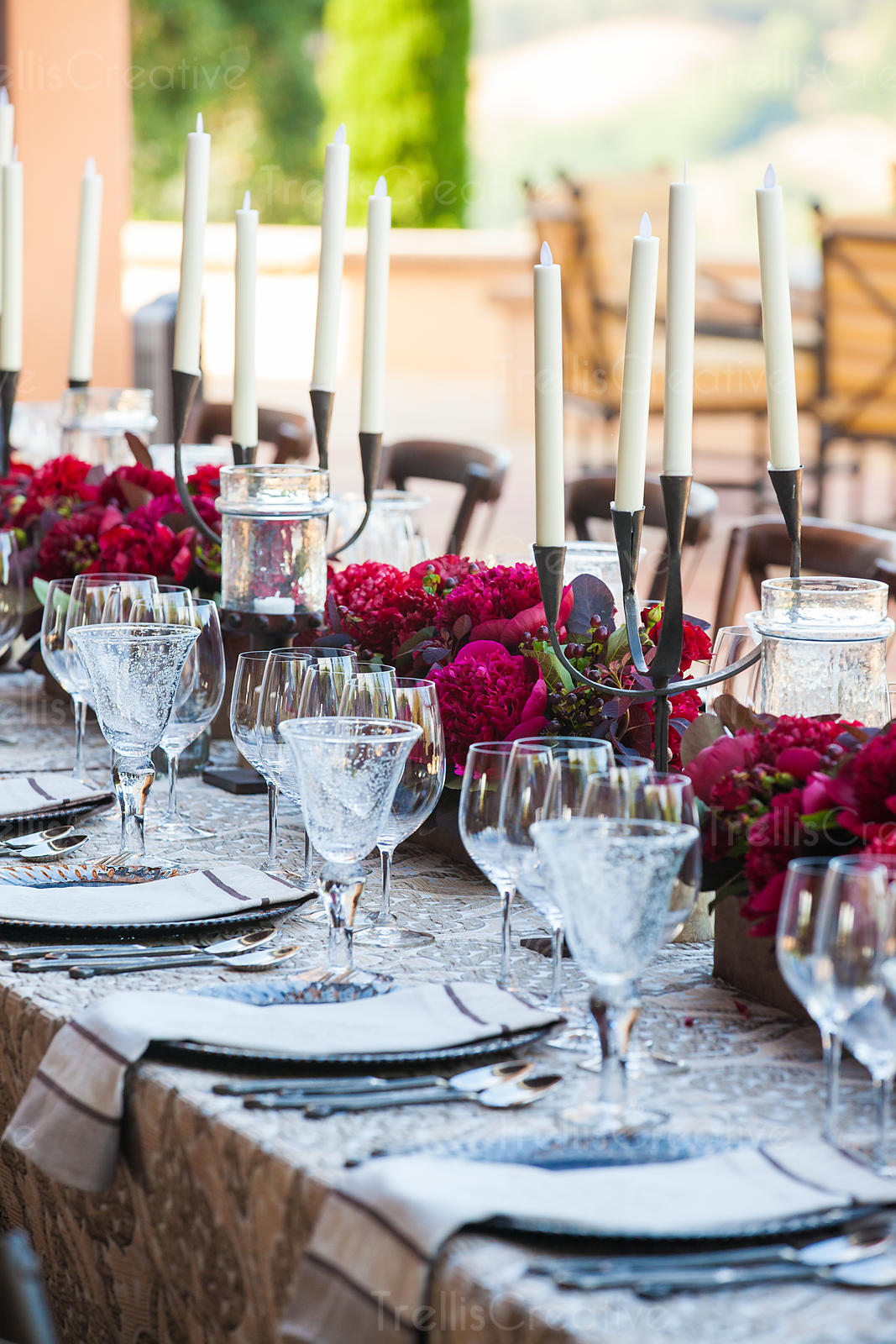 An elegantly decorated dinner table at a wedding