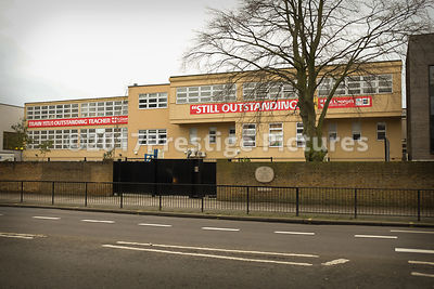 Teacher Training banners outside St George's Catholic School  in London