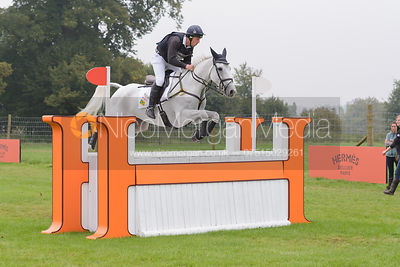 Matthew Wright and COSSAN LAD - cross country phase,  Land Rover Burghley Horse Trials, 6th September 2014.