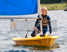 Young people in a sailing dinghy, Rutland Water