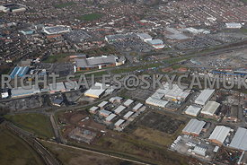 Widnes high level aerial photograph looking across Earle Road and Turnstone Business Park B & Q Dennis road towards Fiddlers ...