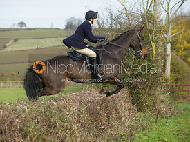 Charlotte Knight jumping a hedge at Town Farm