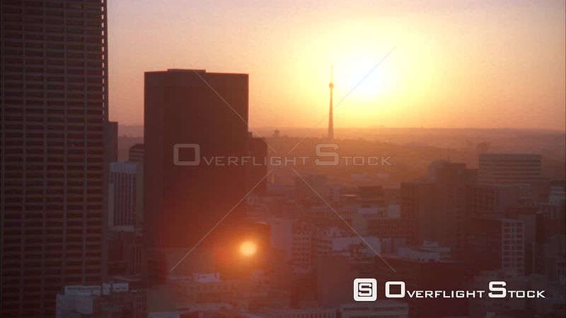 Aerial shot of the Johannesburg Central Business District during sunset/sunrise. Johannesburg Gauteng South Africa