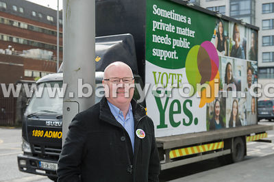 NO REPRO FEES - 11th May, 2018. Pictured at the 'Get Together For Yes' tour at Limerick city was Sinn Fein's Senator Paul Gav...
