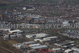 Widnes aerial photograph looking across Widnes Trading Estate Dennis Road towards Ashley Retail Park and the town centre