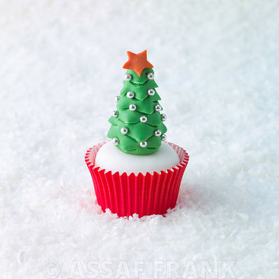 Christmas Tree cupcake on snow