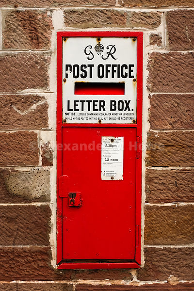 GR George VI Post Office Letter box mounted in a wall