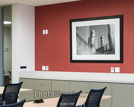 Black & white photography in office meeting room