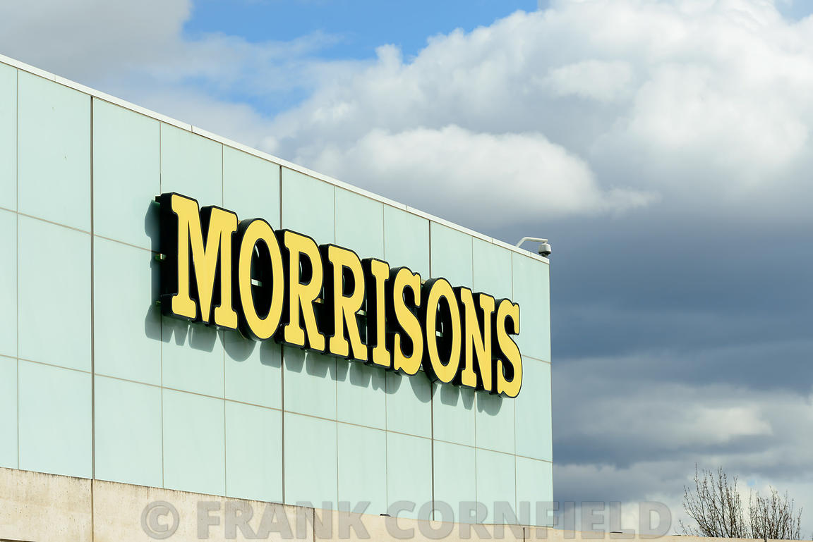 EDINBURGH, SCOTLAND – APRIL 16, 2016: Exterior view of the Morrisons supermarket at the Gyle Centre located to the west of Ed...