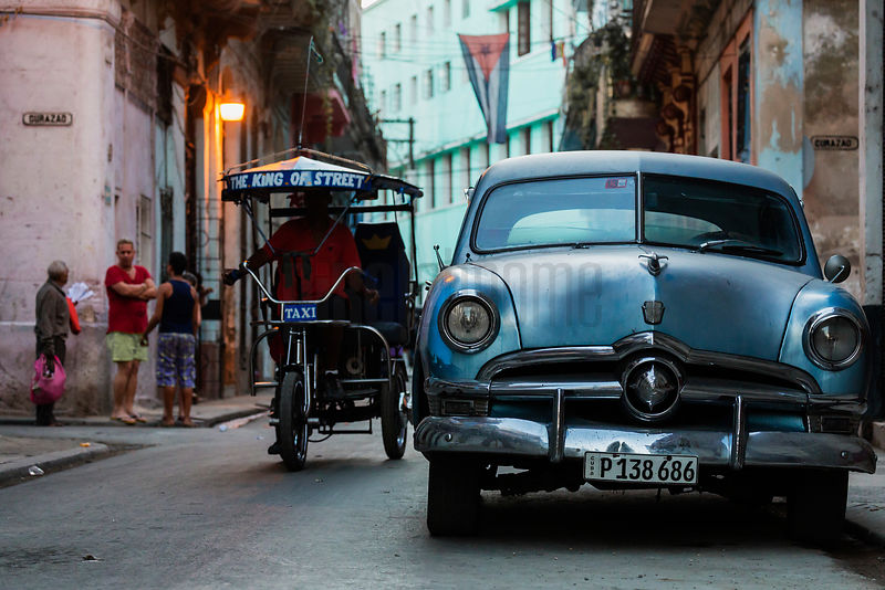 Street Scene in Havana at Dusk