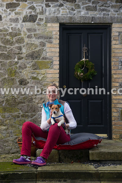 15th January 2016. Margaret Edgilll on her farm with Jack the terrier Mount Briscoe, County Offaly.Photo:Barry Cronin/www.bar...
