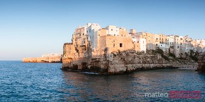 Panoramic sunset over Polignano a mare, Apulia, Italy