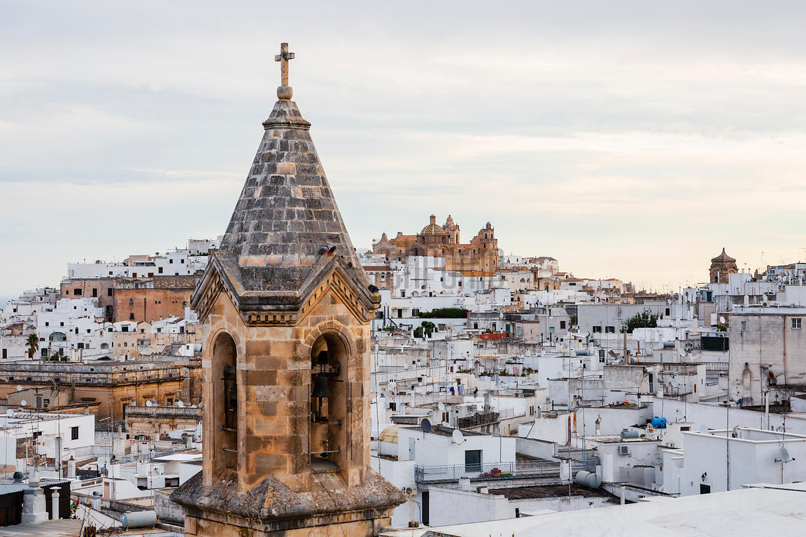 Elevated View of Ostuni with a Bell Tower in the Foreground