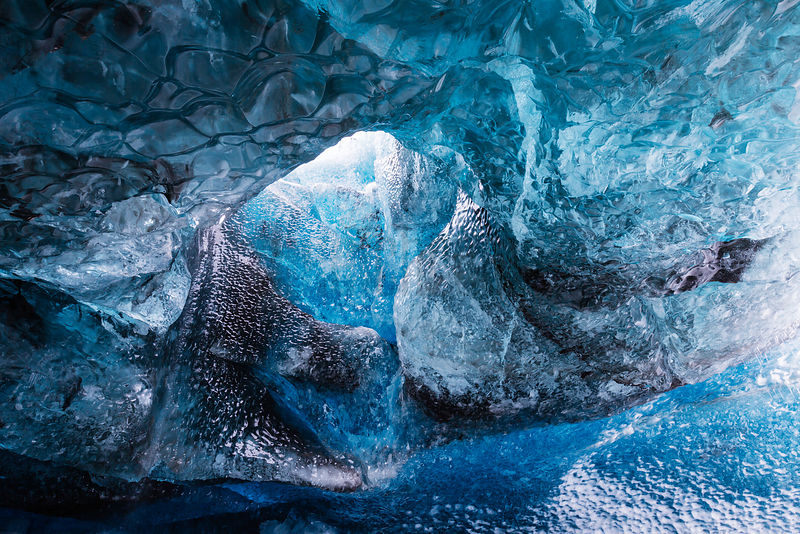 Inside an Ice Cave at Vatnajökull Glacier