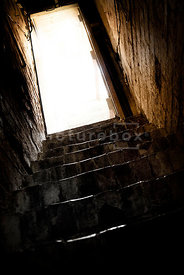 An atmospheric image of a an open door at the top of some dark cellar steps © Paul Thomas Gooney
