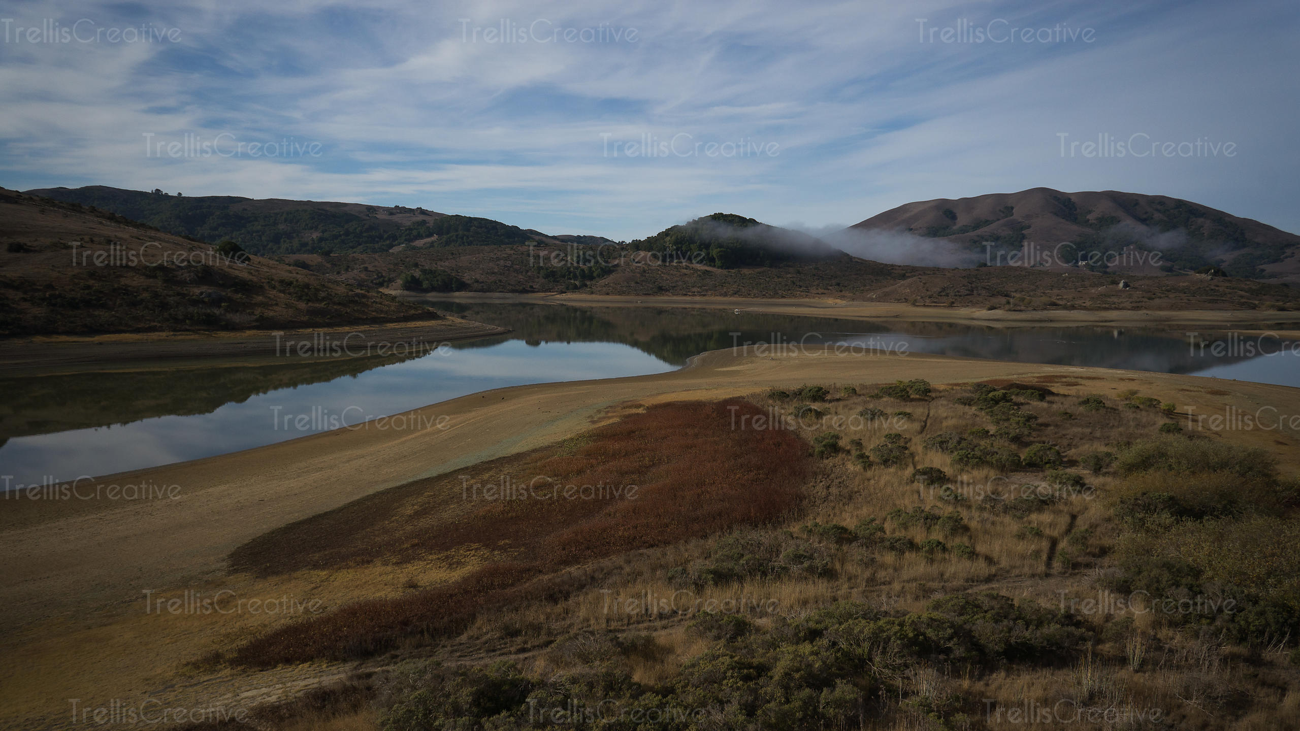Aerial view of Nicasio Reservoir in Point Reyes National Seashore
