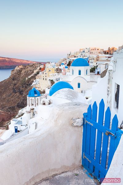 Beautiful village of Oia at sunrise, Santorini, Greece