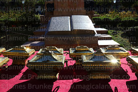 Caskets in honour of Juan Bautista Sagarnaga and other members of the Junta Tuitiva and carved stone book with text of the Proclamation of the Junta Tuitiva in Plaza Murillo during events to commemorate the uprising of July 16th 1809, La Paz, Bolivia