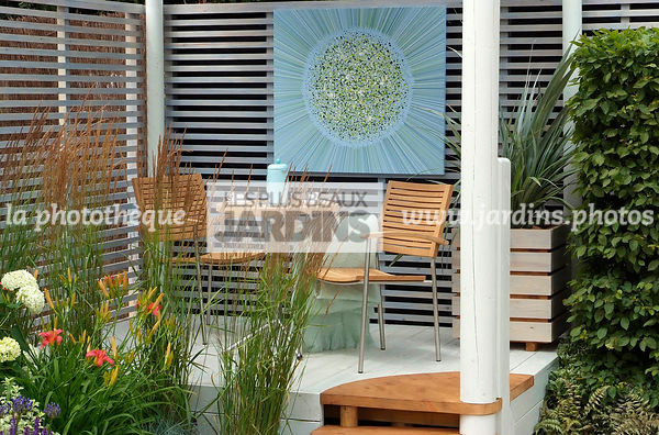 Garden chair, garden designer, Garden furniture, Garden table, Terrace, Trellis, Contemporary Terrace, Digital, Grasses