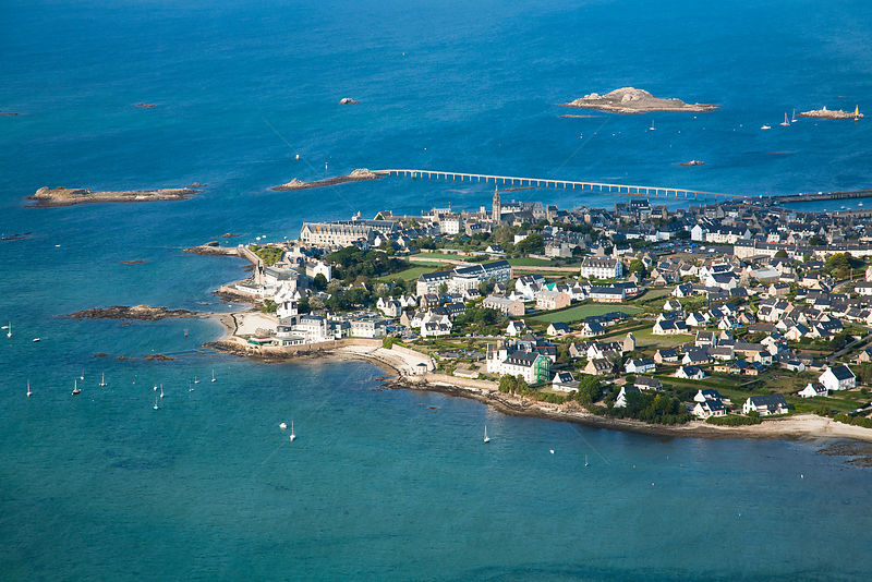 Aerial view of Roscoff town and harbour, Finistere, Brittany, France, September 2006.