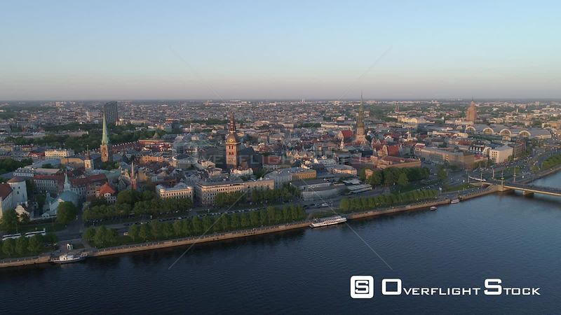 Aerial drone shot of Riga Old Town with Riga skyline in background