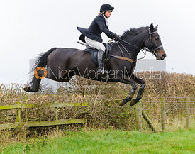 Hilary Butler jumping at Stone Lodge Farm - The Cottesmore Hunt at Tilton on the Hill, 9-11-13