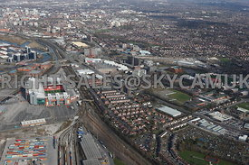 Manchester high level view showing Old Trafford town hall and Manchester Uniteds football stadium