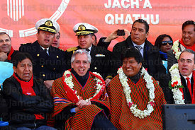 Bolivian president Evo Morales (right) and vice president Alvaro Garcia Linera (centre) during the cable car Red Line inaugur...