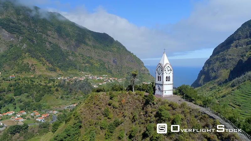 Clock Tower and Village Sao Vicente Madeira Island Drone Video Portugal
