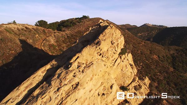 A Close Flight Over a Rocky Peak in the San Gabriel Mountains of California.