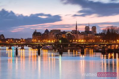 River Seine and Ile de la Cite at sunset, Paris, France