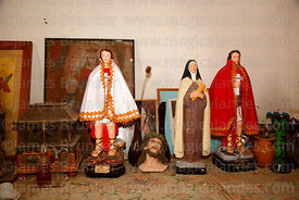 Statues of Expeditus and Virgin Mary in workshop in San Martín de Tours church, Codpa, Region XV, Chile