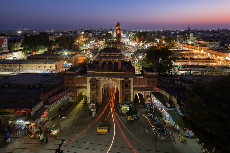 Elevated View of the North Gate to the Sadar Market and the Clock Tower in the Center of Old Jodhpur