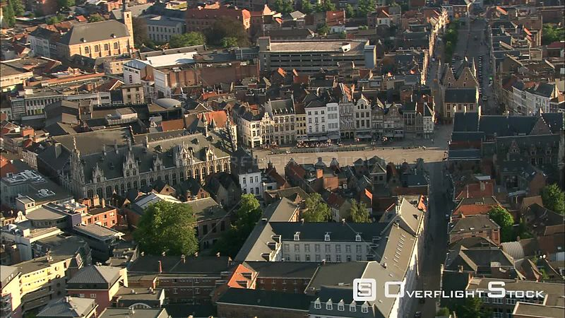 Flying past City Hall in Mechelen, Belgium