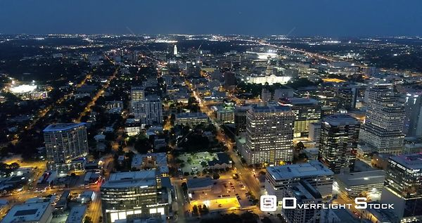 Night Time Drone Video Downtown Austin Texas USA