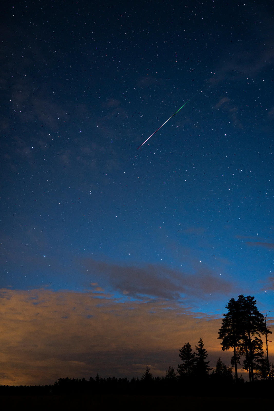 Lone Perseid meteor was seen in the Finnish countryside during the annual Perseid meteor shower on August 13 2018.