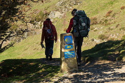 Pilgrims at Lepoeder Pass (Spain)
