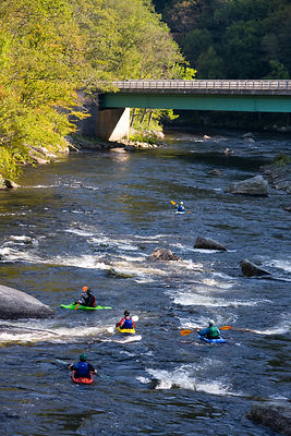 Whitewater kayaking just below Zoar Rapid on the Deerfield River in Charlemont, Massachusetts, USA, September 2006