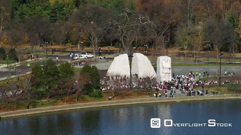 Flying along the Tidal Basin past Martin Luther King Jr. Memorial.