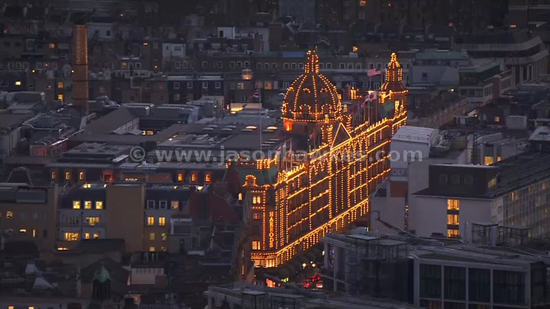 Aerial footage of Harrods at night, London