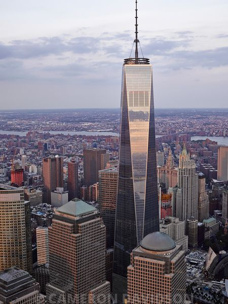 Aerial of the Freedom Towwer in the Financial District of New York City.